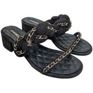 Chanel Black Braided Suede Chain Slide Sandals